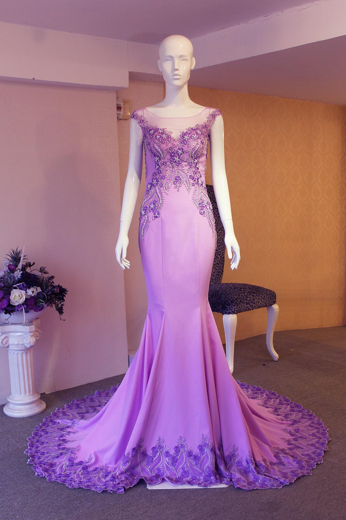 đầm dạ hội cao cấp màu tím