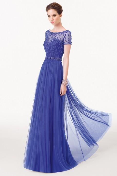 đầm dạ hội cao cấp màu xanh tím